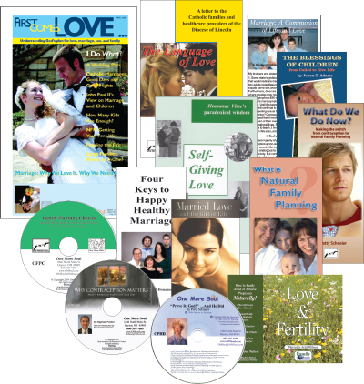 One More Soul's Marriage Packet is a marriage preparation resource covering commitment, natural family planning, birth control, children, and much more. A great wedding gift. No better gift could be given a young couple than to turn them away from contraception and to the joy of unrestricted self-giving.
