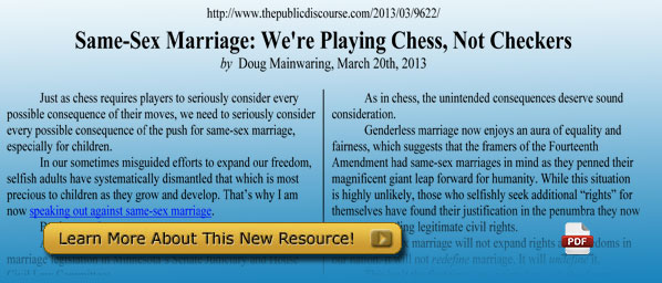 Same-Sex Marriage: We're Playing Chess, Not Checkers