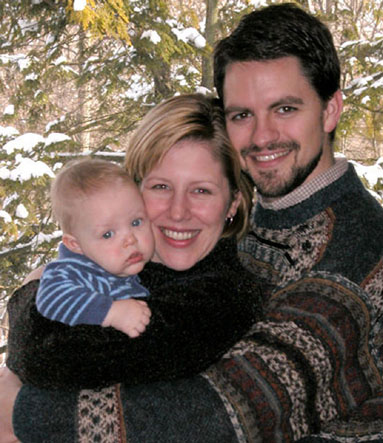 Author Emily Sederstrand with her husband Tom and her son Owen